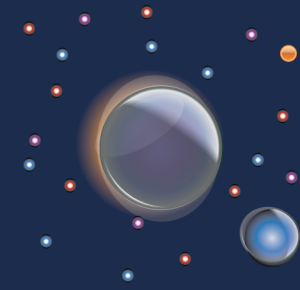 graphic of 2 planets and stars