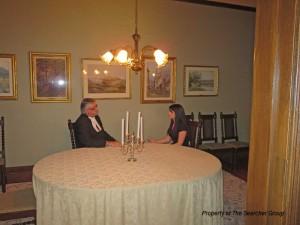 Photo of Amanda speaking with The Honourable Dave Levac