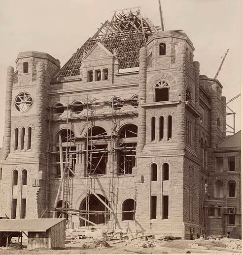 photo of Toronto Queens Park with scaffolding in front Under Construction