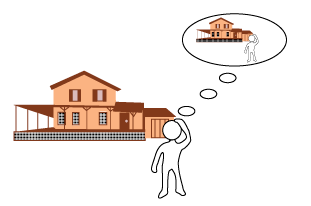 Graphic of Person in front of a house with a thought bubble containing a graphic of them standing in front of the same house