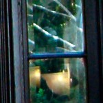Close-up of the window in the Cawthra house front door