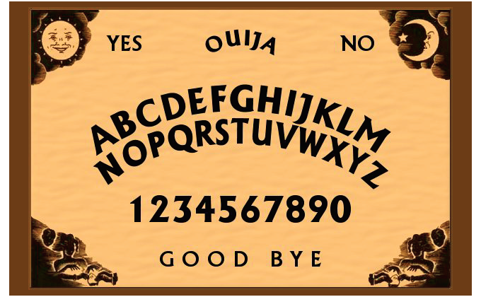 photo of a ouija board with yes and a sunshine in top left corner and no with a moon in top right corner, letters a-z followed by numbers 1-0 centred in the middle and goodbye at the bottom centred